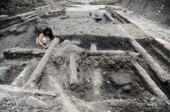 """成都""""蜀王府""""遗址发掘出大型沉木群"""