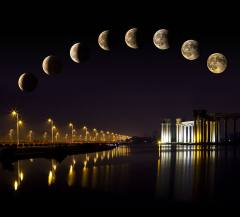 天津月食美景