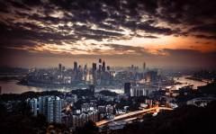 俯瞰重庆渝中半岛