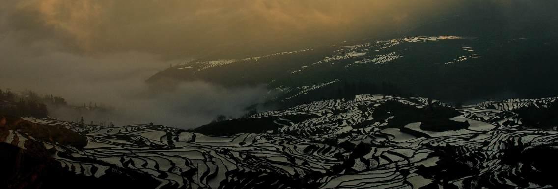 梯田在清辉和云雾的笼罩下